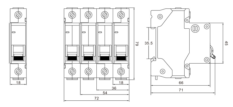 Circuit breaker supplier DZ47 63S 4.5KA Mini Circuit Breaker drawing
