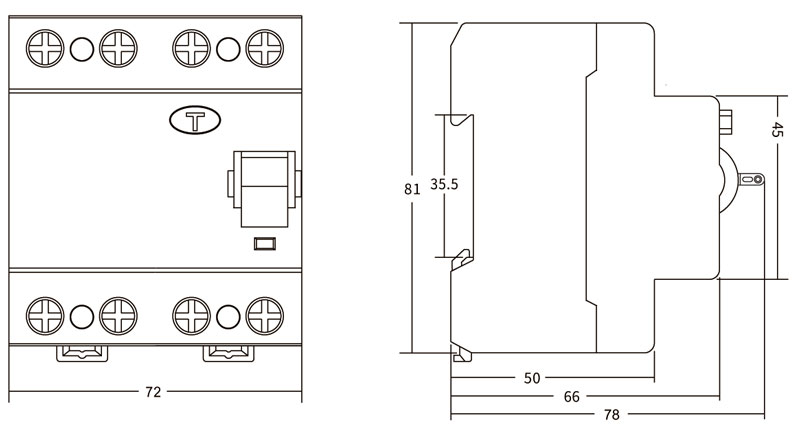 MCB Accessories Supplier Residual Current Circuit Breaker Drawing